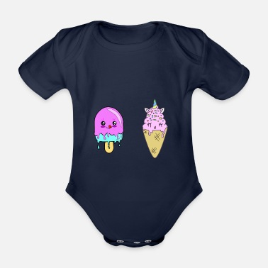 Soft Ice Cream Soft ice cream and popsicles - Organic Short-Sleeved Baby Bodysuit
