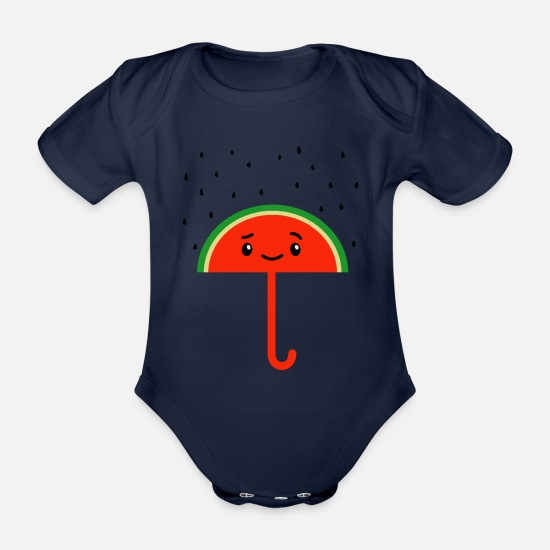 Xmas Baby Clothes - Raining Watermelon Seeds And Umbrella - Organic Short-Sleeved Baby Bodysuit dark navy