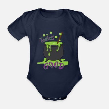 Comic Cocktail Halloween cauldron cocktail poison - Organic Short-Sleeved Baby Bodysuit