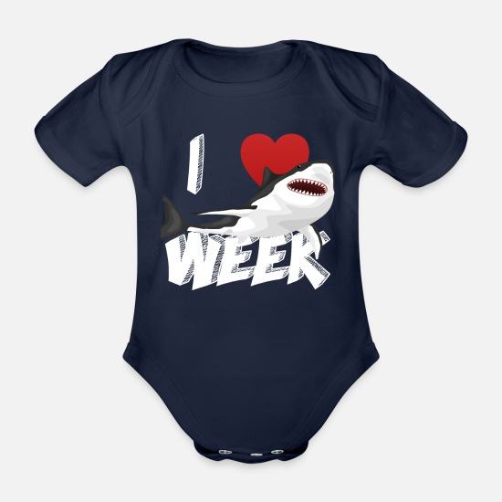 Birthday Baby Clothes - I Love The Week Of Sharks Epic Novelty Gift Idea For Shark Lovers Graphic Shark Bite - Organic Short-Sleeved Baby Bodysuit dark navy