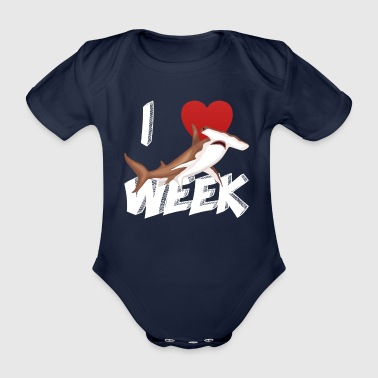 I Love The Week Of Sharks Cute Novelty Gift Idea For Shark Lovers Graphic Hammerhead Shark - Organic Short-sleeved Baby Bodysuit