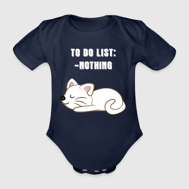 Cat - Cats T-Shirt - Cats - Lazy Fur - Lazy - Organic Short-sleeved Baby Bodysuit