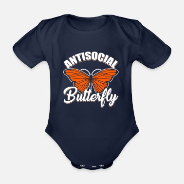 Buttefly INTROVERTS: Antisocial Butterfly - Organic Short-Sleeved Baby Bodysuit