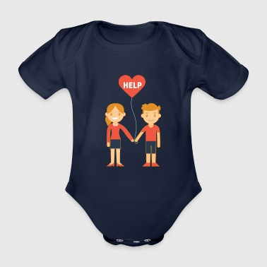 Super Help Couple With A Heart Balloon - Organic Short-sleeved Baby Bodysuit
