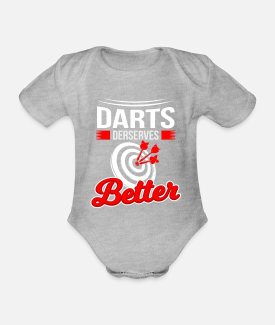 Guys Night Out Baby Clothes - Darts Slice Arrows Bar Hobby Sport Training - Organic Short-Sleeved Baby Bodysuit heather grey