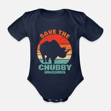 Hörner Save the Chubby Unicorns Geschenk Rhino Nashorn - Baby Bio-Kurzarm-Body