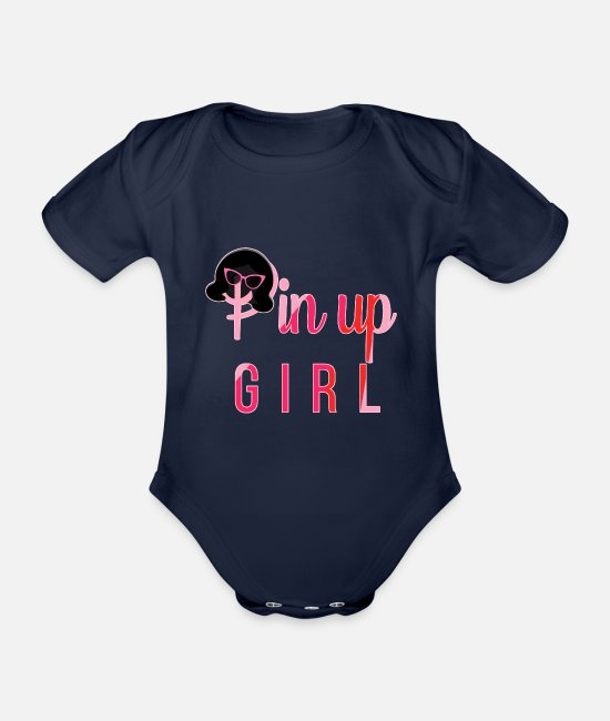 Easter Baby Bodysuits - pin up girl - Organic Short-Sleeved Baby Bodysuit dark navy