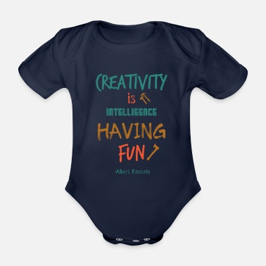 Hammer Creativity Is Intelligence Having Fun Gift - Organic Short-sleeved Baby Bodysuit