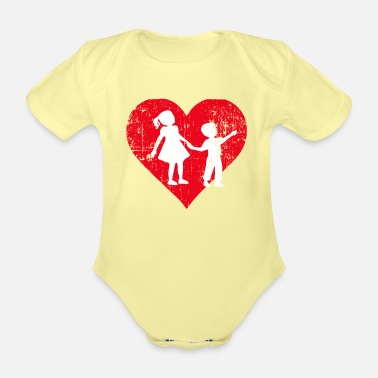 Siblings A Heart For Siblings - Siblings Tee Shirt - Organic Short-Sleeved Baby Bodysuit