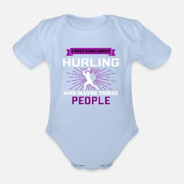 Hurling Funny Hurling And Maybe 3 People - Organic Short-Sleeved Baby Bodysuit