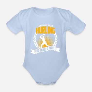 Hurling Funny Funny Hurling T-Shirt Birthday Gift - Organic Short-Sleeved Baby Bodysuit