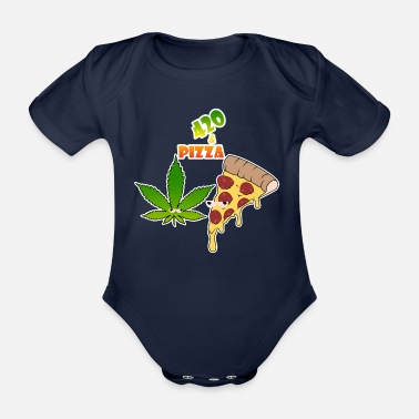 Weed 420 and pizza - Organic Short-Sleeved Baby Bodysuit