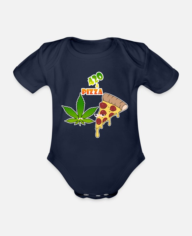 Pizza Baby Bodysuits - Weed 420 and pizza - Organic Short-Sleeved Baby Bodysuit dark navy