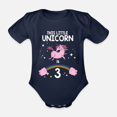 Third third birthday child unicorn gift 3 magical - Organic Short-Sleeved Baby Bodysuit