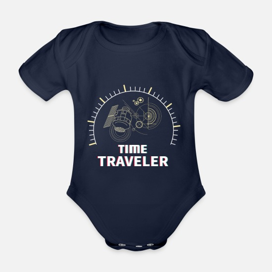 Time Travel Baby Clothes - Time travel visitor traveler - Organic Short-Sleeved Baby Bodysuit dark navy