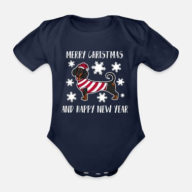 Happy Puppy Merry Christmas And Happy New Year Dachshund Shirt - Organic Short-Sleeved Baby Bodysuit