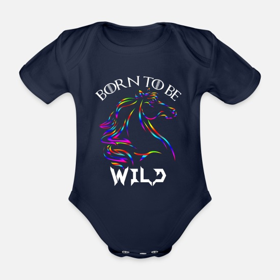Bounty Hunter Baby Clothes - Born to be wild horses head shirt motive colorful - Organic Short-Sleeved Baby Bodysuit dark navy