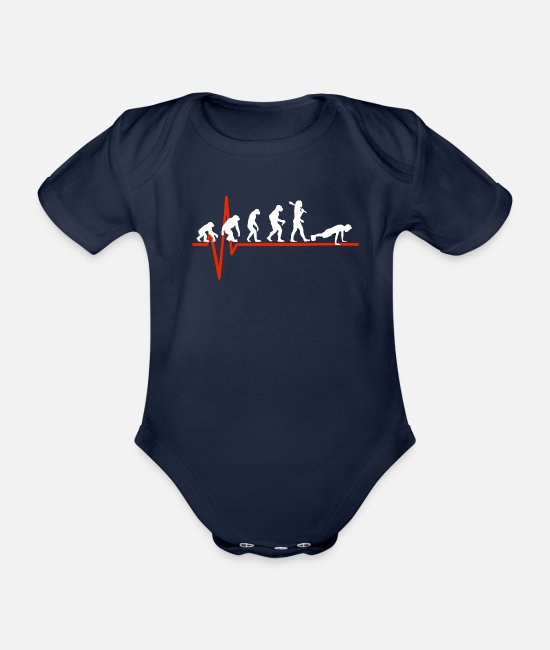 Strong Baby Clothes - Workout Heartbeat - EVOLUTION OF WORKOUT - Organic Short-Sleeved Baby Bodysuit dark navy