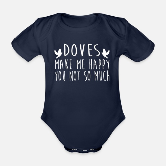 Pigeon Baby Clothes - Doves Make Me Happy - Organic Short-Sleeved Baby Bodysuit dark navy