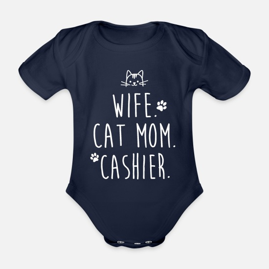 Career Baby Clothes - WIFE. CAT MOM. CASHIER. - Organic Short-Sleeved Baby Bodysuit dark navy