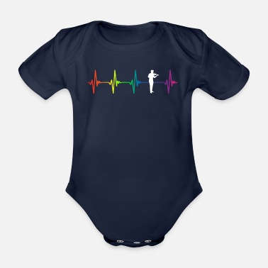 Violino Violin Rainbow Heartbeat - Organic Short-Sleeved Baby Bodysuit
