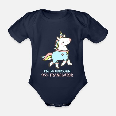 Cute Illustration Cute unicorn illustration for translators - Organic Short-Sleeved Baby Bodysuit