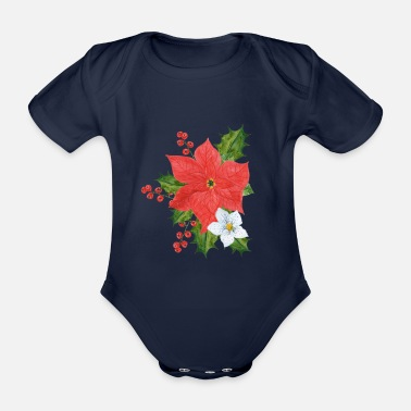 Poinsettia Poinsettia plant - Organic Short-Sleeved Baby Bodysuit
