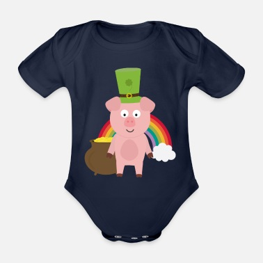 Tiere Pork with Patrick's day Hat Sgd15-design - Organic Short-Sleeved Baby Bodysuit