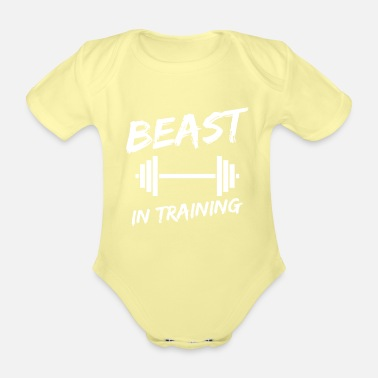 Training Beast in training father son partner look - Organic Short-Sleeved Baby Bodysuit