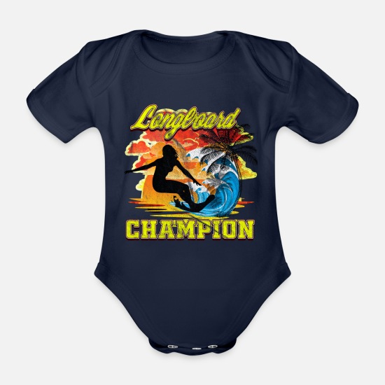 Love Baby Clothes - Surf Longboard CHAMPION - Organic Short-Sleeved Baby Bodysuit dark navy