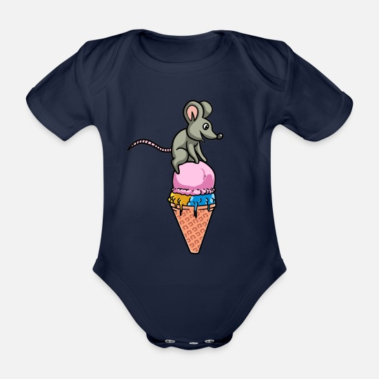 Birthday Baby Clothes - Ice cream ice mouse rodent summer hunger snack - Organic Short-Sleeved Baby Bodysuit dark navy