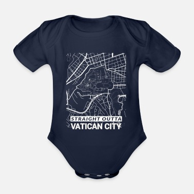Set25 Straight Outta Vatican City city map and streets - Organic Short-Sleeved Baby Bodysuit