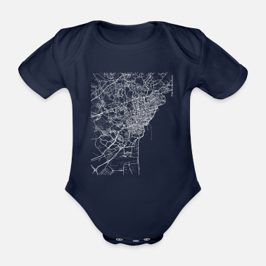 Catania City Minimal Catania city map and streets - Organic Short-Sleeved Baby Bodysuit