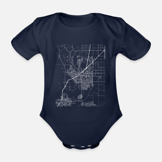 Cool Baby Clothes - Minimal Vacaville city map and streets - Organic Short-Sleeved Baby Bodysuit dark navy