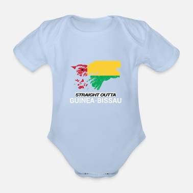 Soccer Straight Outta Guinea-Bissau country map - Organic Short-Sleeved Baby Bodysuit