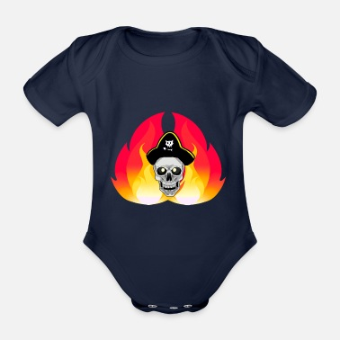 Privateer Fantasy pirate skull buccaneer - Organic Short-Sleeved Baby Bodysuit