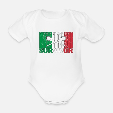 Friends Of Italy Wooden Spoon Survivor With Italy Flag - Organic Short-Sleeved Baby Bodysuit