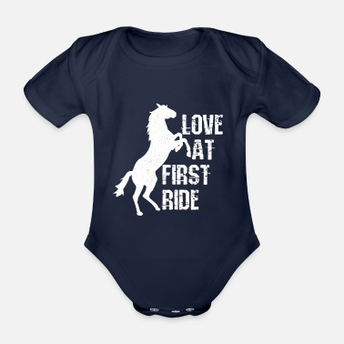 Horse Sayings Horsewoman rider equestrian wordplay - Organic Short-Sleeved Baby Bodysuit