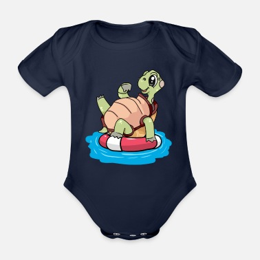 Distress Tortoise in distress - Organic Short-Sleeved Baby Bodysuit