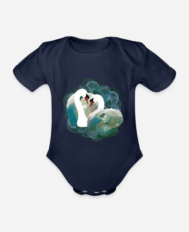 Engagement Baby Bodysuits - Swans / swans heart - Organic Short-Sleeved Baby Bodysuit dark navy