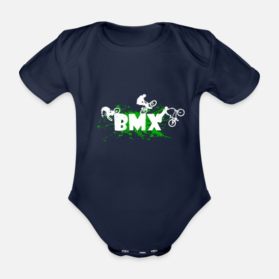 Mountain Biking Baby Clothes - BMX - Organic Short-Sleeved Baby Bodysuit dark navy