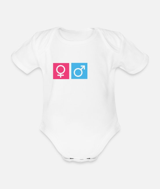 Sex Baby Clothes - Nerd Female Male - Organic Short-Sleeved Baby Bodysuit white