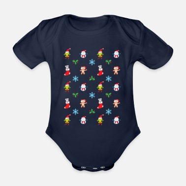 Composer Teddy, mouse, elf and snowman Christmas pattern - Organic Short-Sleeved Baby Bodysuit