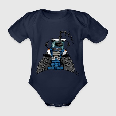0538 blue tractor - Organic Short-sleeved Baby Bodysuit