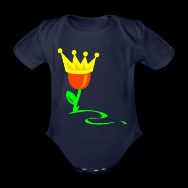 Tulpenkönigin Königstag with princesses crown - Organic Short-sleeved Baby Bodysuit