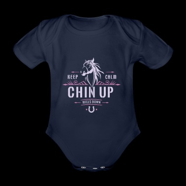 Keep calm, head up and heels down. - Organic Short-sleeved Baby Bodysuit