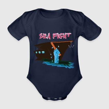 Battle on the sea The sea fights against ship - Organic Short-sleeved Baby Bodysuit