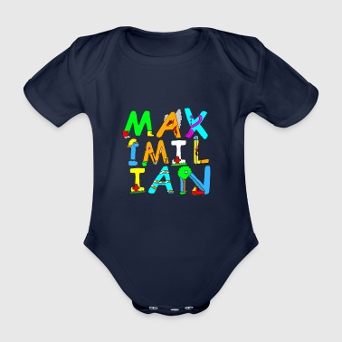 Maximilian's name in cool fire brigade letters - Organic Short-sleeved Baby Bodysuit