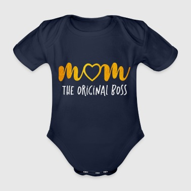 Moomy is the Original Boss - Mother's Day - Organic Short-sleeved Baby Bodysuit