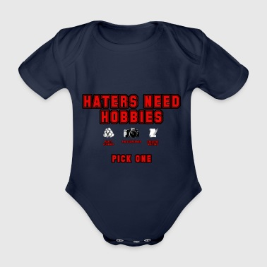 Haters (red) - Organic Short-sleeved Baby Bodysuit